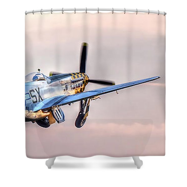 P-51 Mustang Taking Off Shower Curtain