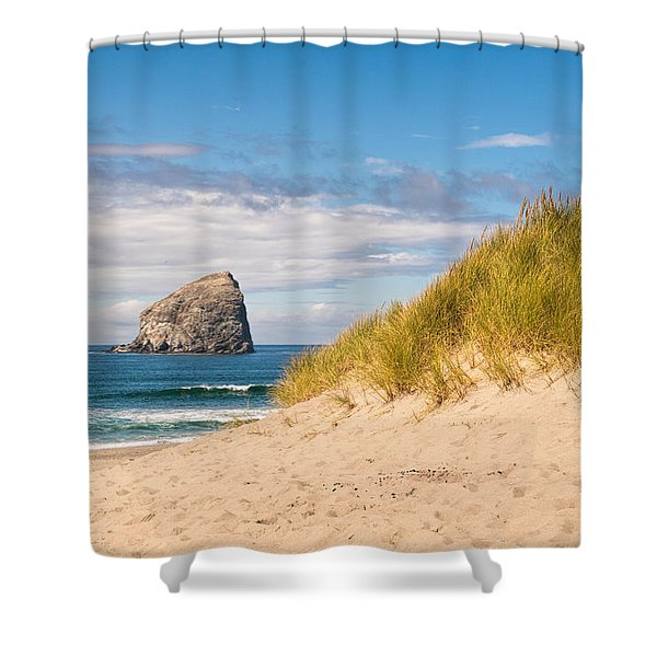 Shower Curtain featuring the photograph Pacific Beach Haystack by Michael Hope