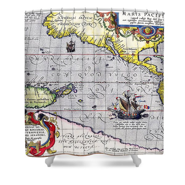 Pacific Ocean Vintage Map Shower Curtain