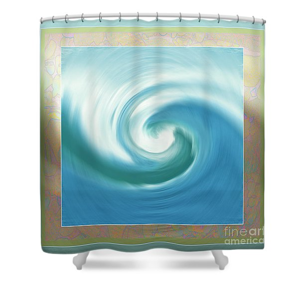 Pacific Swirl With Border Shower Curtain