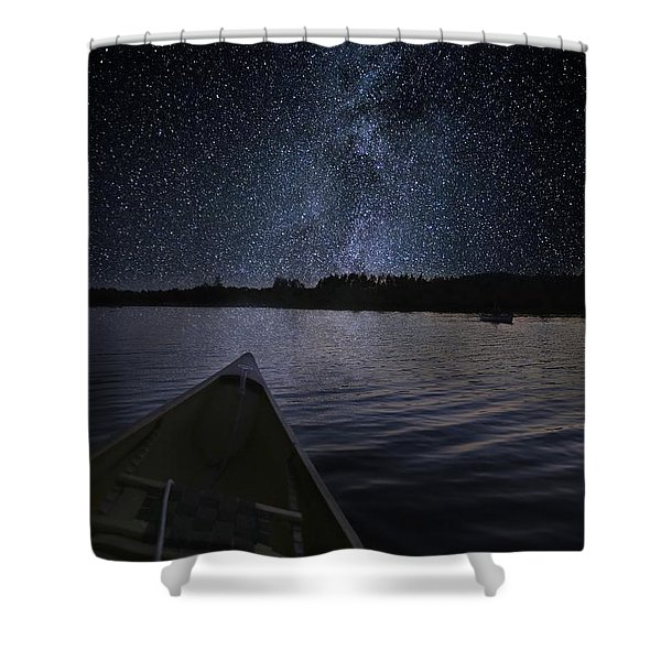 Paddling The Milky Way Shower Curtain