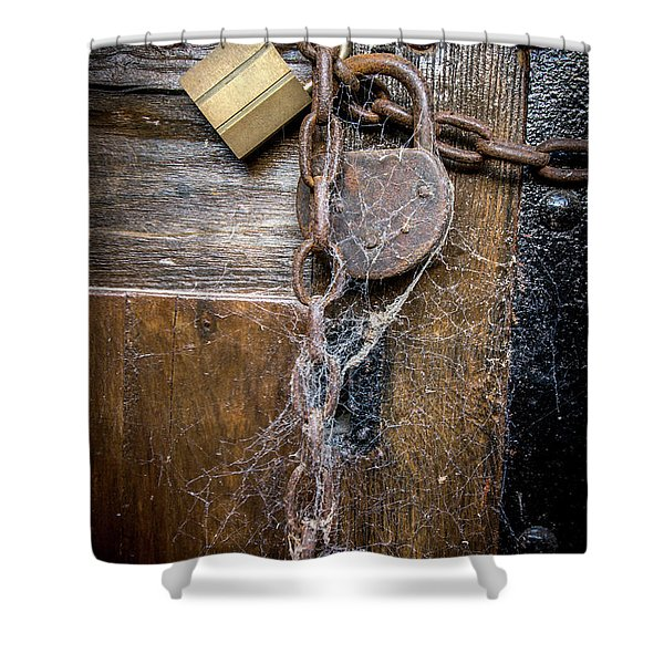 Padlock And Wooden Door Shower Curtain