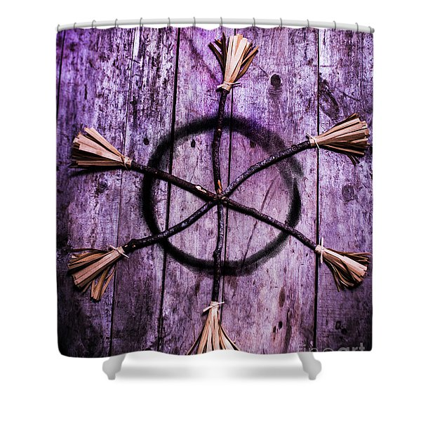 Pagan Or Witchcraft Symbol For A Gathering Shower Curtain