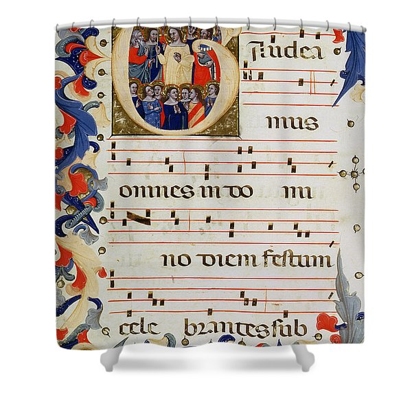 Page Of Musical Notation With A Historiated Letter G Shower Curtain
