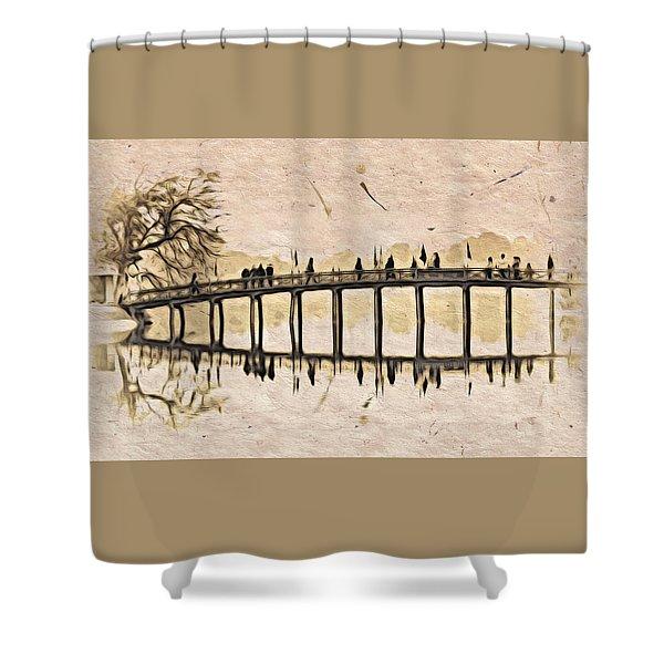 Pagoda Bridge Shower Curtain