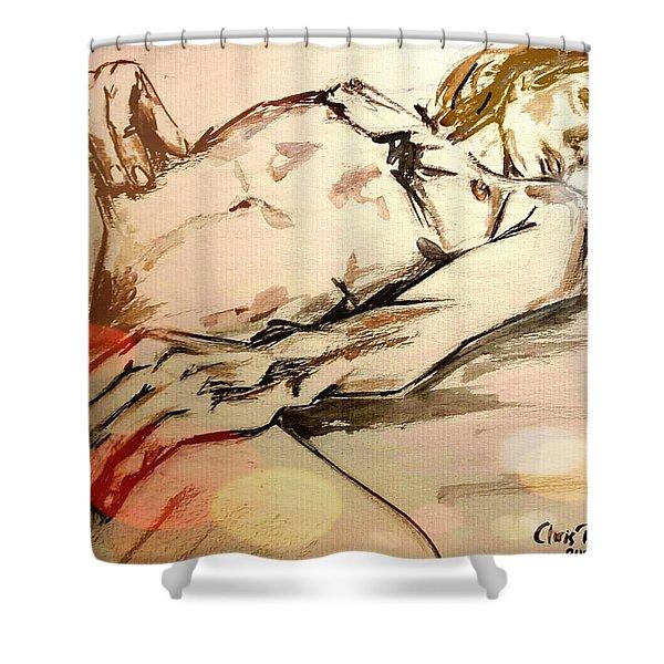Paint My Spirit Gold Shower Curtain