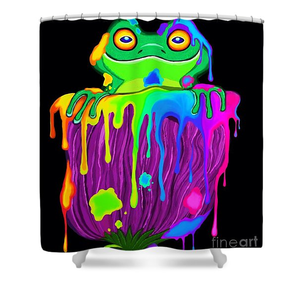 Painted Flower Frog  Shower Curtain