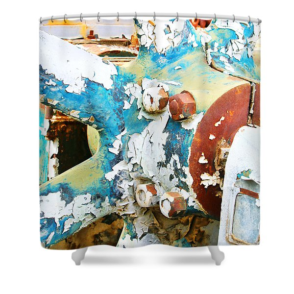 Painted Fly Wheel Shower Curtain