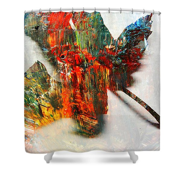 Shower Curtain featuring the photograph Painted Leaf Abstract 2 by Anita Burgermeister