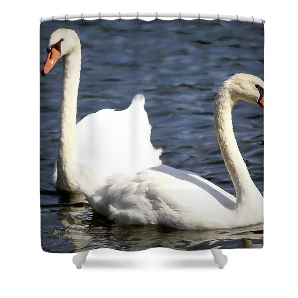 Painted Mute Swans Of Lake Junaluska North Carolina II Shower Curtain