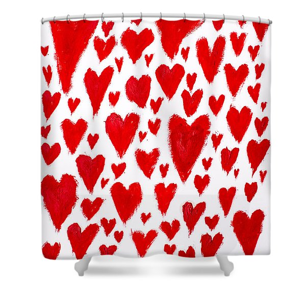 Painted Red Hearts Shower Curtain