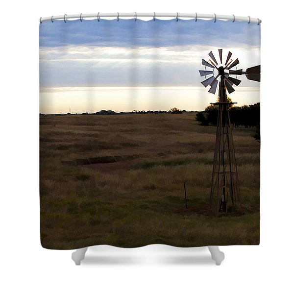 Painted Windmill Shower Curtain
