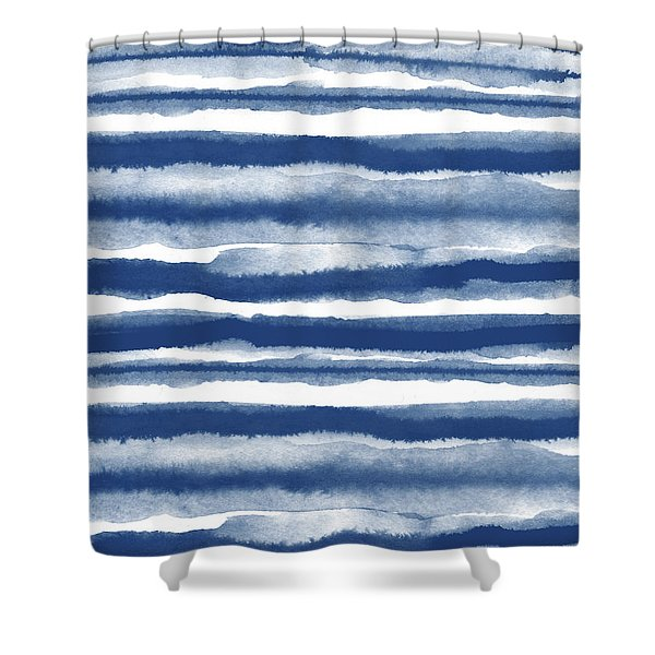 Painterly Beach Stripe 3- Art By Linda Woods Shower Curtain