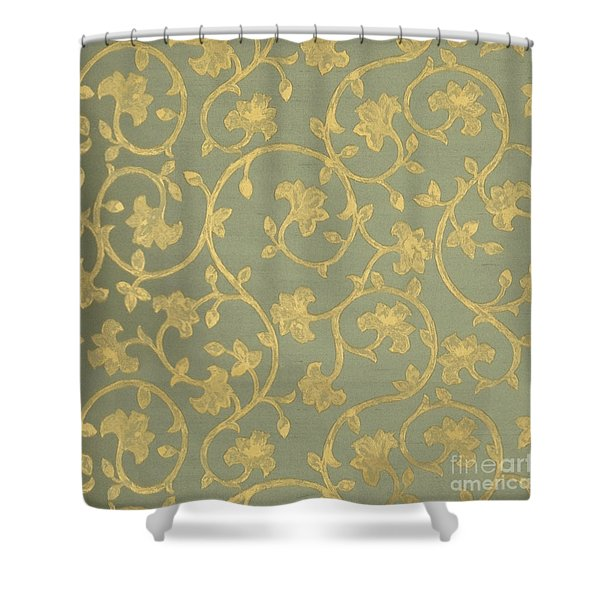 Painterly Chenin Gold Damask On Sage Linen Shower Curtain