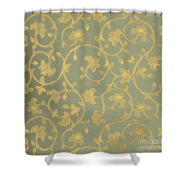 Painterly Chenin Gold Damask On Sage Linen Shower Curtain