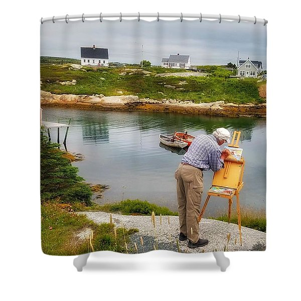 Painting Peggys Cove Shower Curtain