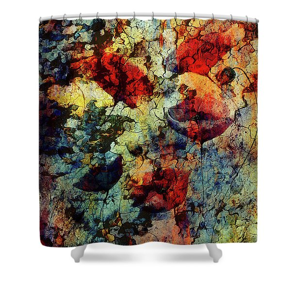 Painting Poppy On Color Background. Red Flower On Abstract Color Background With Desert Crackle Structure. Shower Curtain