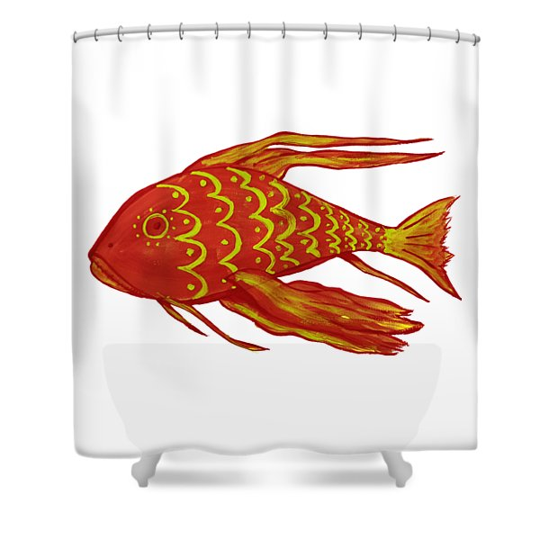 Painting Red Fish Shower Curtain