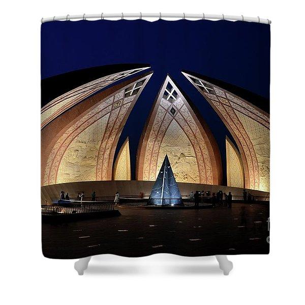 Pakistan Monument Illuminated At Night Islamabad Pakistan Shower Curtain
