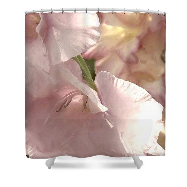 Pale Pink Glads Shower Curtain