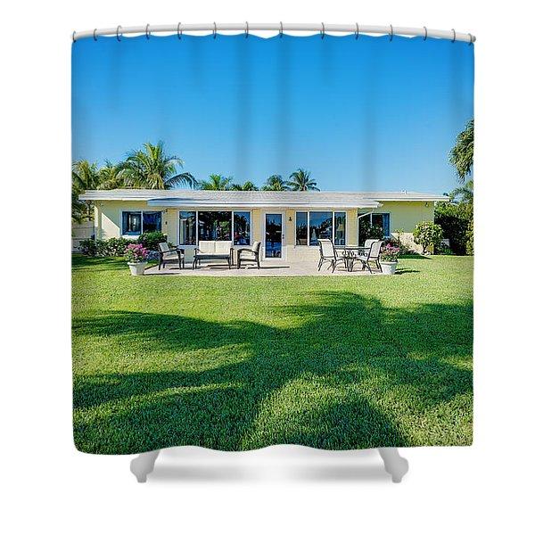 Palm Back Yard Shower Curtain