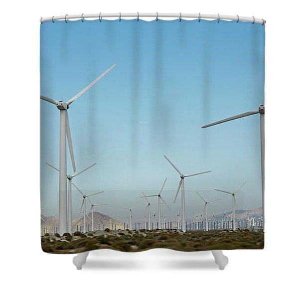 Palm Springs Windfarm Shower Curtain