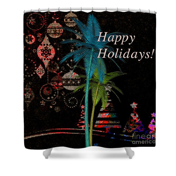 Palm Trees Happy Holidays Shower Curtain