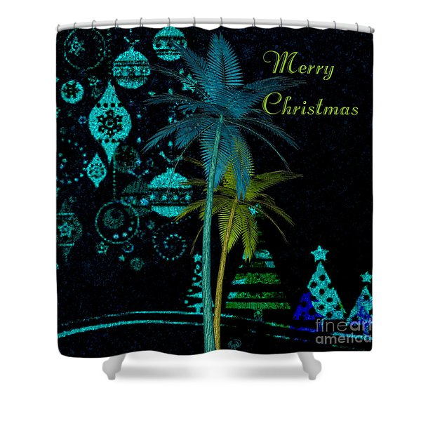 Palm Trees Merry Christmas Shower Curtain