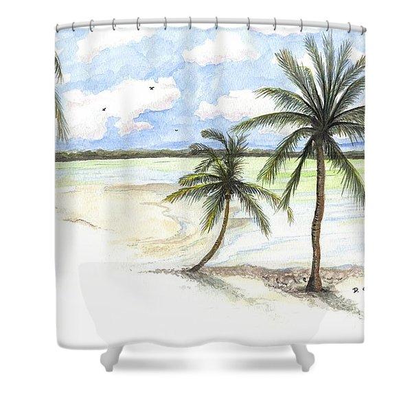 Palm Trees On The Beach Shower Curtain
