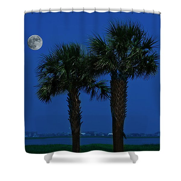 Palms And Moon At Morse Park Shower Curtain