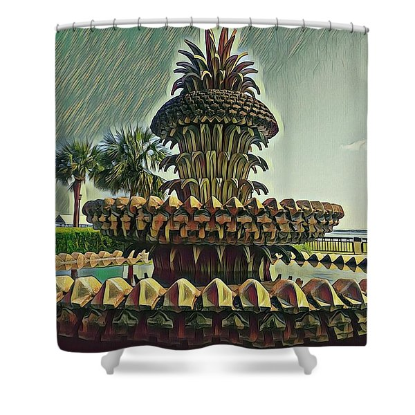 Palms And Pineapples Shower Curtain