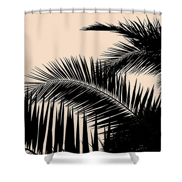 Palms On Pale Pink Shower Curtain
