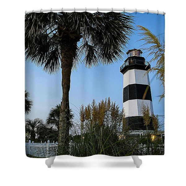 Pampas Grass, Palms And Lighthouse Shower Curtain