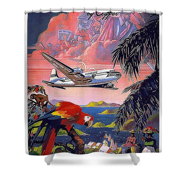 Pan American World Airways - Flying Clippers - Caribbean - Retro Travel Poster - Vintage Poster Shower Curtain