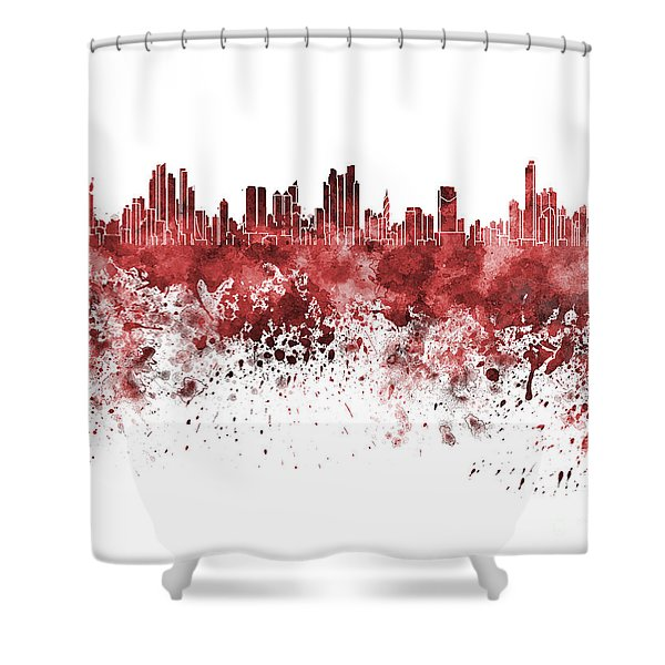 Panama City Skyline In Red Watercolor On White Background Shower Curtain