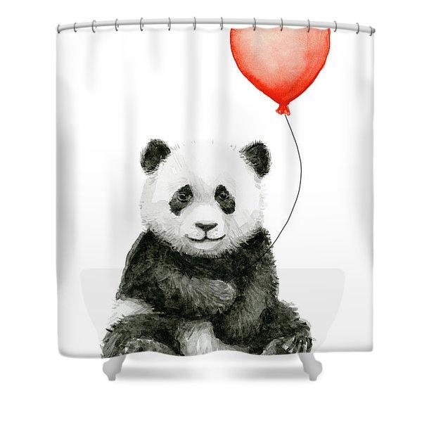 Panda Baby And Red Balloon Nursery Animals Decor Shower Curtain