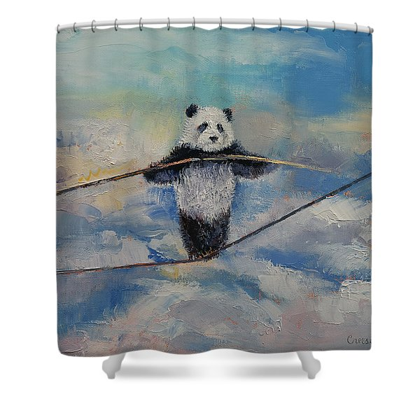 Panda Tightrope Shower Curtain