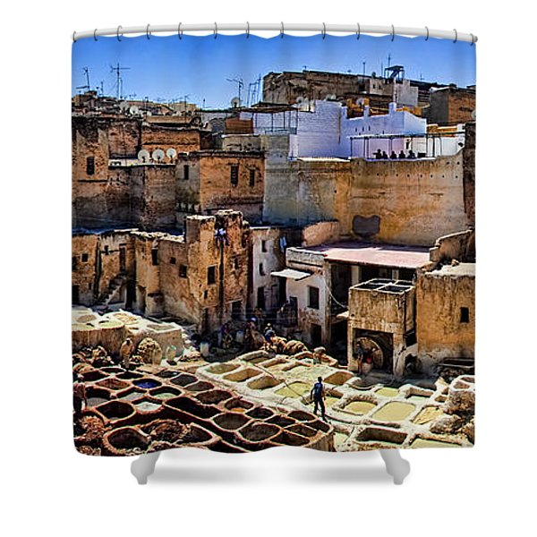 Panorama Of The Ancient Tannery In Fez Morocco Shower Curtain