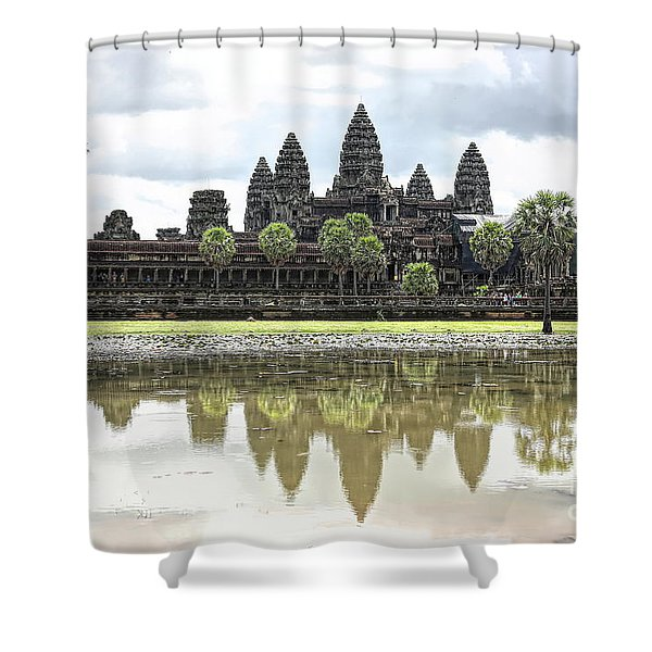 Panorama Angkor Wat Reflections  Shower Curtain