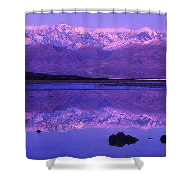 Panorama Badwater And The Panamint Range At Sunrise Death Valley Shower Curtain
