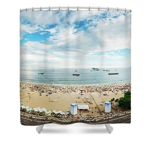 Panorama Of Copacabana, Rio De Janeiro, Brazil  Shower Curtain