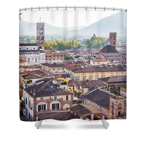 panorama of old town Lucca, Italy Shower Curtain