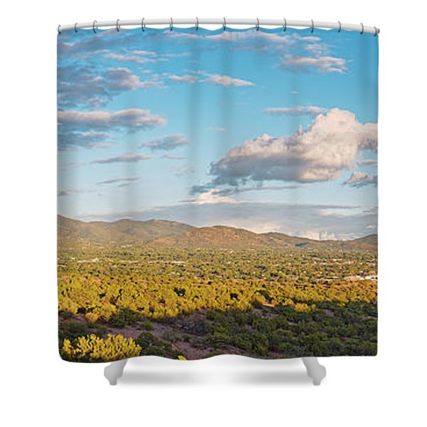 Panorama Of Santa Fe And Sangre De Cristo Mountains - New Mexico Land Of Enchantment Shower Curtain