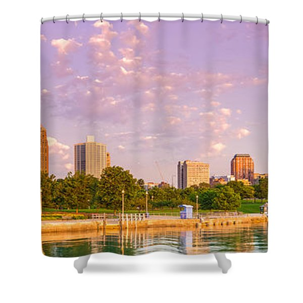 Panorama Of South Side Of Chicago Skyline And One Museum Park From Shedd Aquarium - Chicago Illinois Shower Curtain