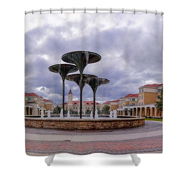 Panorama Of Texas Christian University Campus Commons And Frog Fountain - Fort Worth Texas Shower Curtain