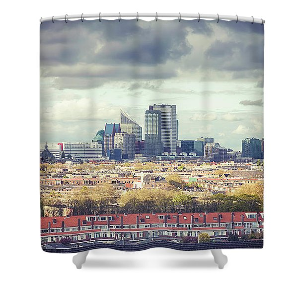 panorama of the Hague modern city Shower Curtain