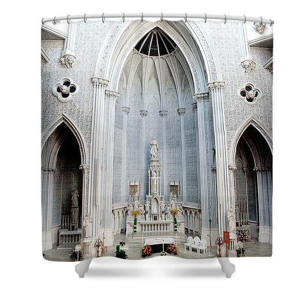 Panorama Of The Main Altar Of St. John The Evangalist Roman Catholic Church Schenectady Shower Curtain