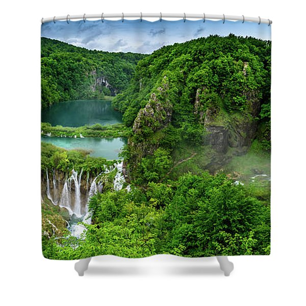 Panorama Of Turquoise Lakes And Waterfalls - A Dramatic View, Plitivice Lakes National Park Croatia Shower Curtain