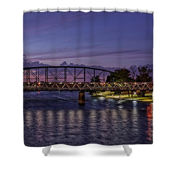 Panorama Of Waco Suspension Bridge Over The Brazos River At Twilight - Waco Central Texas Shower Curtain