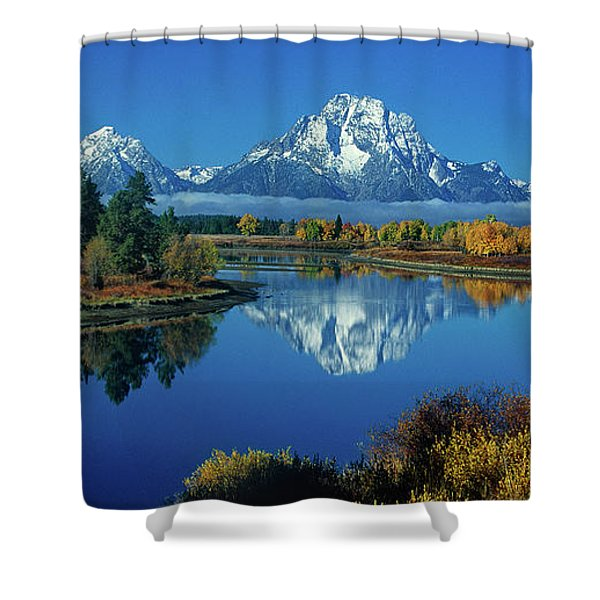 Panorama Oxbow Bend Grand Tetons National Park Wyoming Shower Curtain